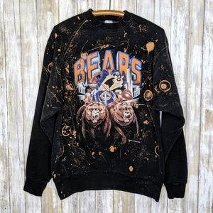 VTG '93 Taz Bears Bleached Crewneck Chicago Large